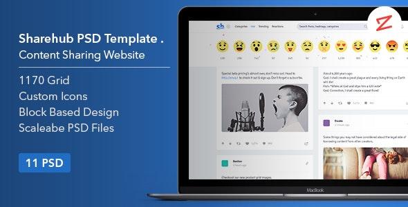 Sharehub Content Sharing PSD Template - Technology Photoshop