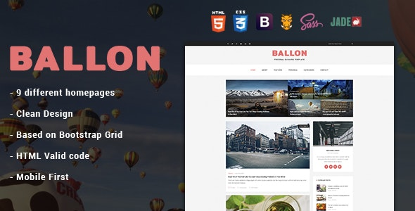 Balloon - Personal Blog HTML Template - Personal Site Templates