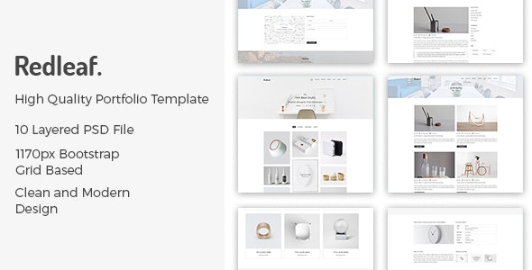Redleaf - Minimal Portfolio PSD Template - Creative PSD Templates