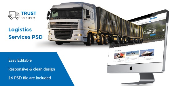 Trust Transport - Transportation and Logistics PSD Template - Business Corporate