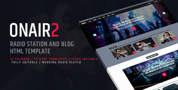 On Air 2 Radio Station Html Website Template Music And Bands Entertainment