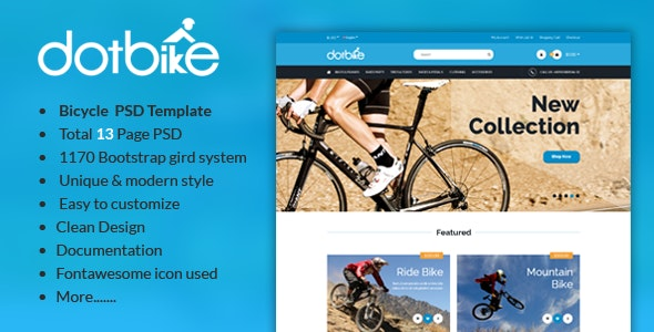 DotBike - Bicycle E-commerce PSD Template - Shopping Retail
