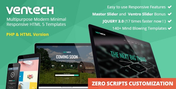 Ventech Multipurpose Modern Minimal Responsive HTML 5 Templates - Corporate Site Templates