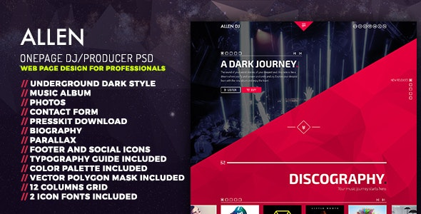 Allen: One Page PSD website template for DJ-Producer and