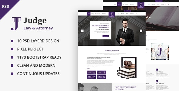 Judge - Lawyer, Attorney and Law Firm PSD Template - Business Corporate