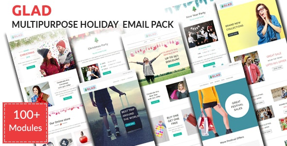 GLAD - Christmas Celebration Email Pack with Stampready Builder Access - Email Templates Marketing