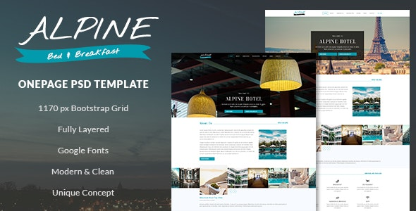 Alpine - Bed and Breakfast Onepage PSD Template - Travel Retail