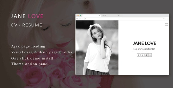 Jane Love - CV/Resume WordPress Theme - Portfolio Creative