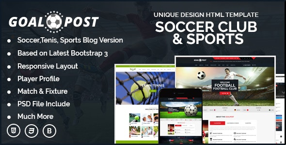 GoalPost Sports Club And Blog HTML Template - Nonprofit Site Templates