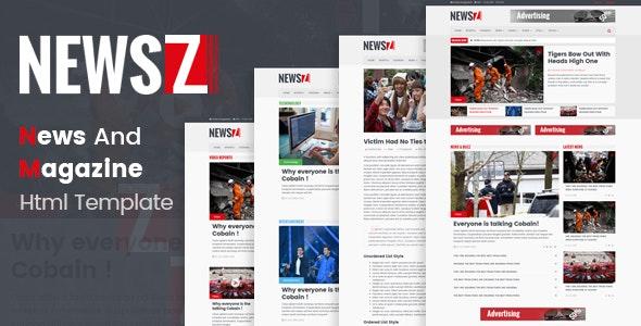 NewsZ - News & Magazine Html Template - Entertainment Site Templates