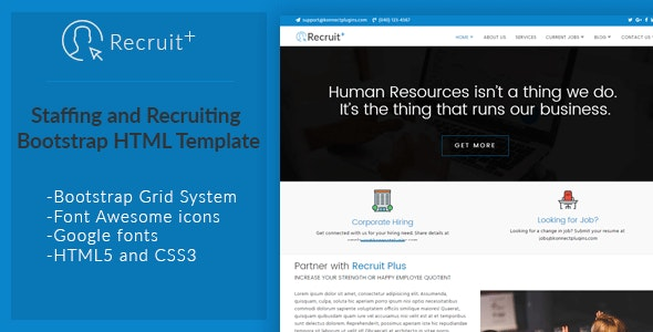 Recruit Plus Staffing and Recruiting HTML Template - Corporate Site Templates