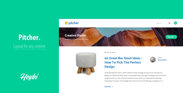 Pitcher: Theme for Any Content - Ghost Themes Blogging