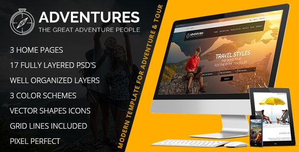 Adventures – Adventures and Tourism PSD Template - Travel Retail