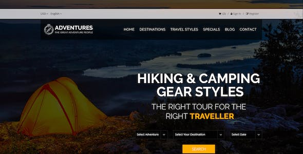 Adventures – Adventures and Tourism PSD Template