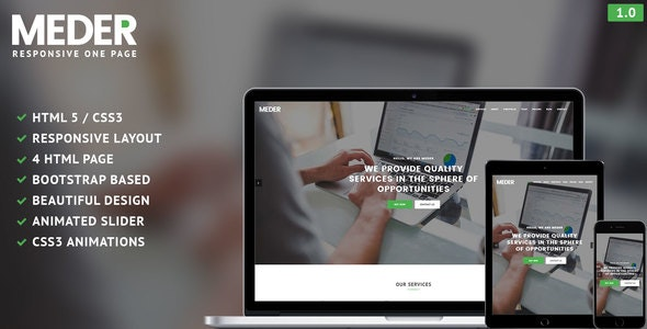 Meder - One Page Responsive Template - Creative Site Templates