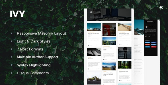 Ivy - Responsive Masonry Ghost Theme - Ghost Themes Blogging