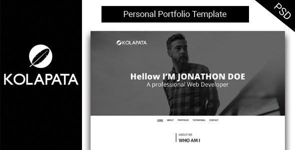 Kolapata One-Page Personal Portfolio Template - Portfolio Creative