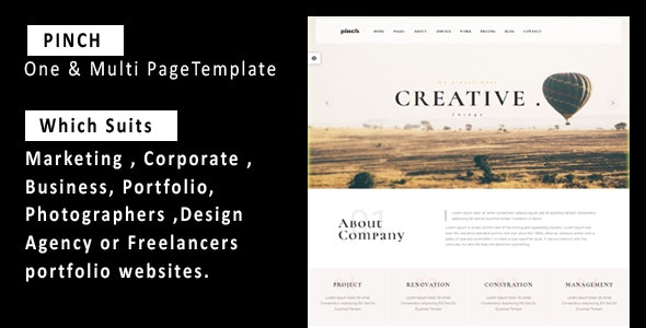 Pinch - One & Multi Page Responsive  Portfolio , Corporate, Business, Creative  & Blog Template - Creative Site Templates