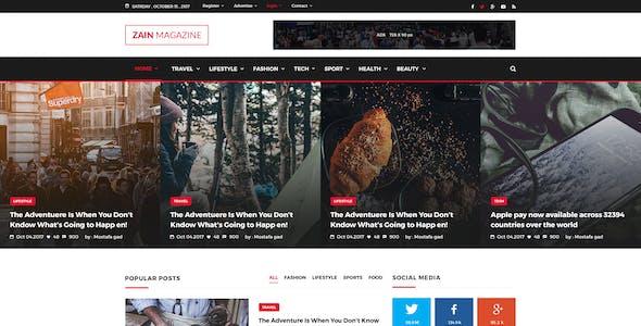 ZAIN News & Magazine PSD Template