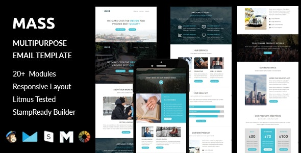 MASS - Multipurpose Responsive Email Template + Stampready Builder Online Access - Email Templates Marketing