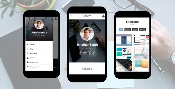 Smith - Personal vCard, CV, Resume, Profile Mobile Template