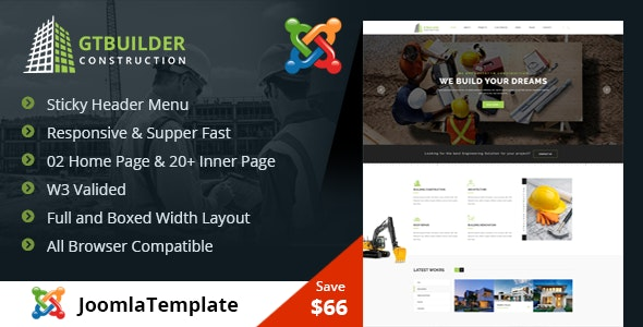 GTBuilder - Construction & Building Joomla Template - Business Corporate