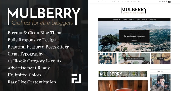 Mulberry - An Elegant Responsive WordPress Blog Theme - Personal Blog / Magazine