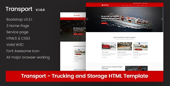 Transport - Local Transport & Storage Website Template - Retail Site Templates