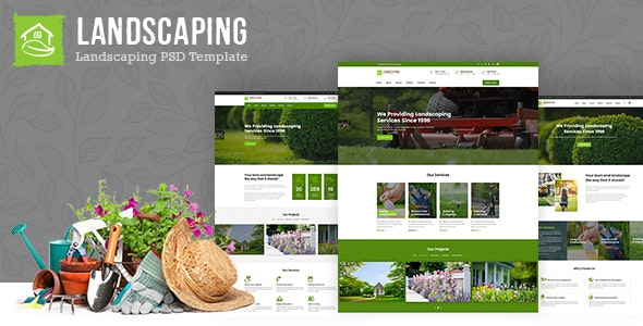 Landscaping - Gardening, Lawn & Landscape PSD Template - Business Corporate