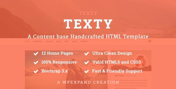 Texty - A Content-based Handcrafted HTML Template - Personal Site Templates