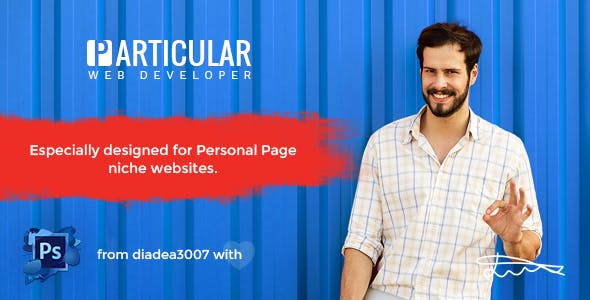 Particular - Personal Page & vCard PSD Template