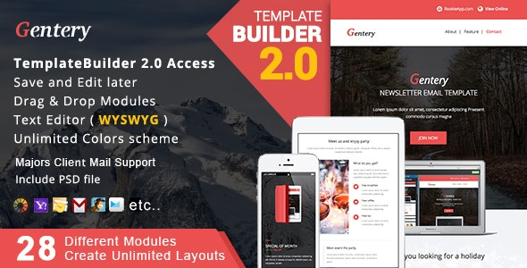 Gentery - Responsive Email + MailBuild Online - Newsletters Email Templates