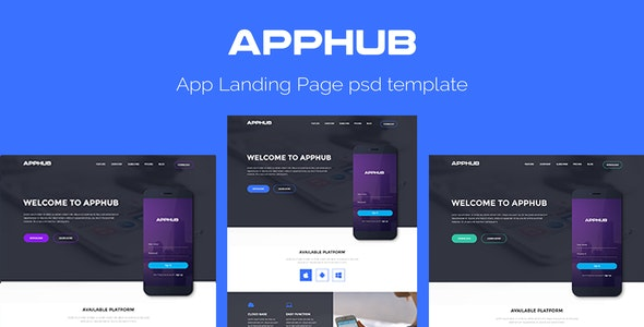Apphub Landing Page Psd Template - PSD Templates