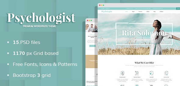 Psychologist - Personal Page PSD Template - Business Corporate