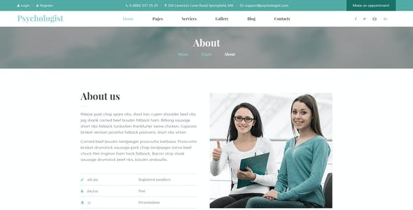 Psychologist - Personal Page PSD Template