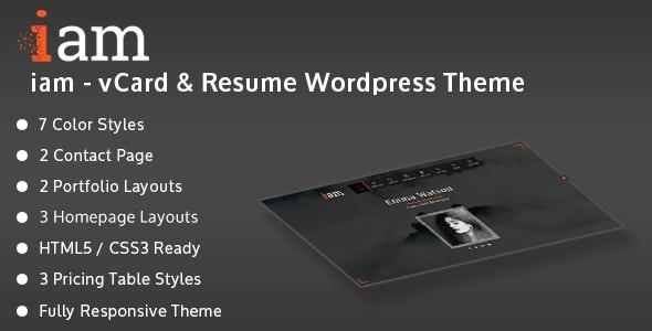 iam - Resume / Personal / Portfolio Responsive WordPress Theme - Personal Blog / Magazine