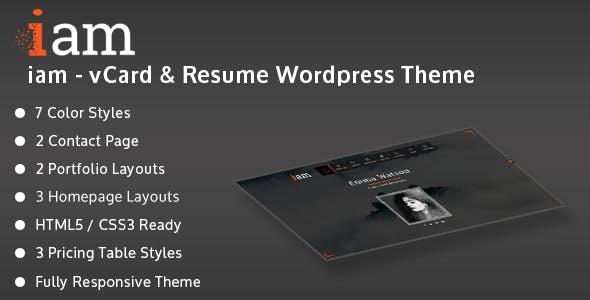 iam - Resume / Personal / Portfolio Responsive WordPress Theme
