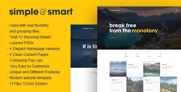 Simple and Smart PSD Template - Photoshop UI Templates