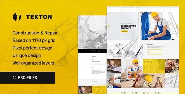 Tekton — Construction and Repair PSD Template - Corporate Photoshop