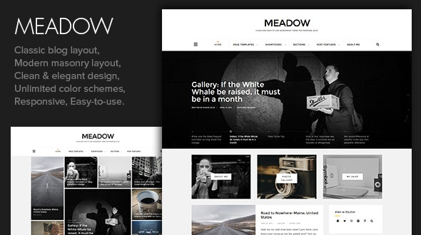 Meadow - Beautiful & Modern Personal Blog Theme - Personal Blog / Magazine