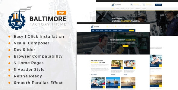 Baltimore Factory - Factory & Industrial Business WordPress Theme - Business Corporate