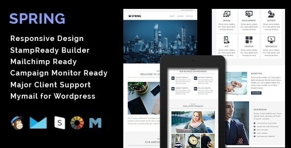SPRING - Multipurpose Responsive Email Template + Stamp Ready Builder - Email Templates Marketing
