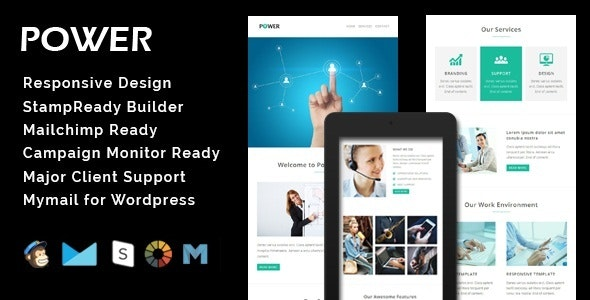 POWER - Multipurpose Responsive Email Template + Stamp Ready Builder - Email Templates Marketing
