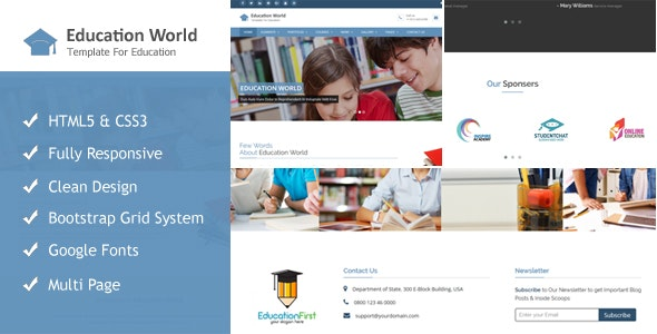 Education World Responsive Html Template - Corporate Site Templates