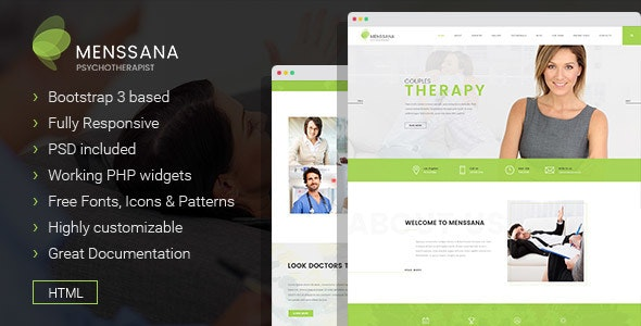 Menssana - Psychologist and Psychotherapist HTML Template - Business Corporate