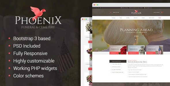 Phoenix - Funeral Home & Cemetery HTML Template - Corporate Site Templates