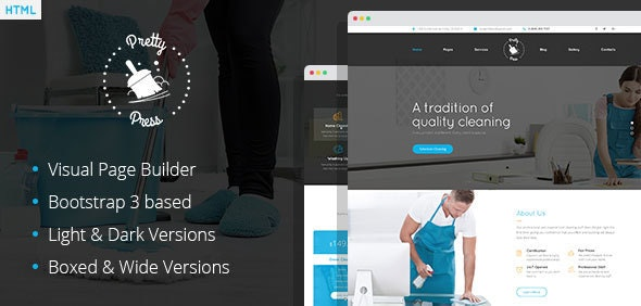 PrettyPress - Cleaning Service HTML Template with Builder - Business Corporate