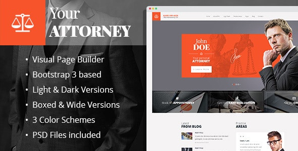 Attorneys - Law Practice HTML template with Builder - Business Corporate