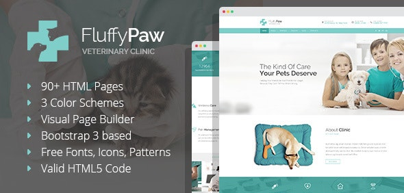 FluffyPaw - Pet Care and Veterinary HTML Template with Visual Page Builder - Health & Beauty Retail