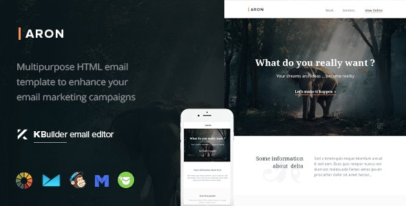 Aron - Responsive Email Template + Kbuilder Offline - Email Templates Marketing